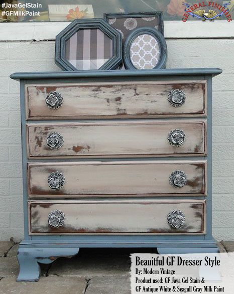 Modern Vintage, created this one of a kind look with the help of GF Antique White and Seagull Gray Milk Paint and Java Gel Stain. Be sure to check out Modern Vintages Facebook page to see more amazing pieces! #generalfinishes #gfmilkpaint #javagel #getthelook