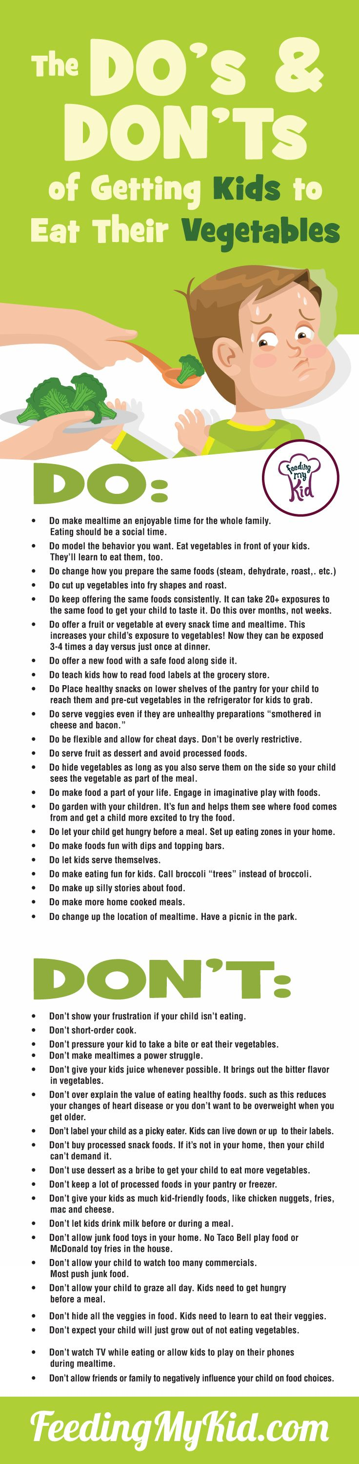 This infographic on the do's and don'ts of how to get kids to eat vegetables will help guide you on your way to transforming your picky eater into a happy, adventurous eater who isn't afraid of a stick of celery. Feeding My Kid is a filled with all the information you need about how to raise your kids, from healthy tips to nutritious recipes. #pickyeating #infographic #parenting