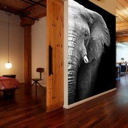 Este elegante #fotomural de un elefante en blanco y negro sirve como separador de espacios en este piso.