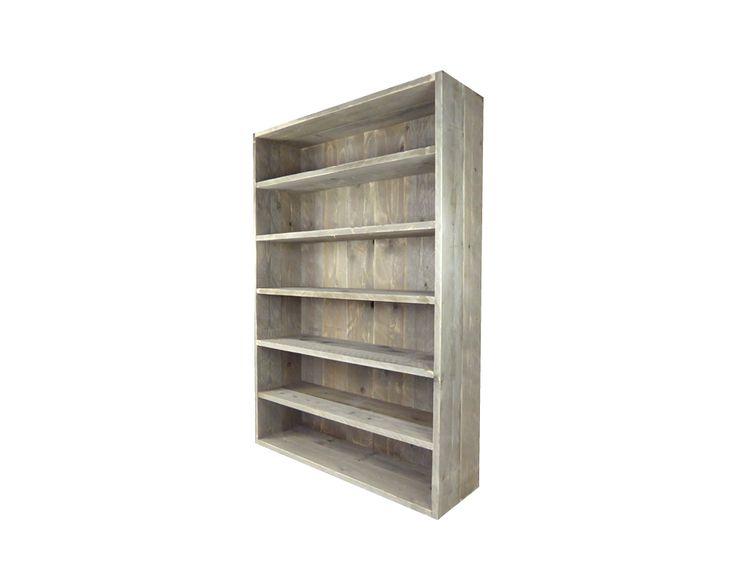 Deze op maat steigerhouten boekenkast is 180 cm hoog, 40 cm diep en beschikt over zes ruime vakken voor boeken. De kant en klare kast is gemaakt van geschuurde steigerplanken die onzichtbaar zijn geschroefd. Productnummer: PG0088