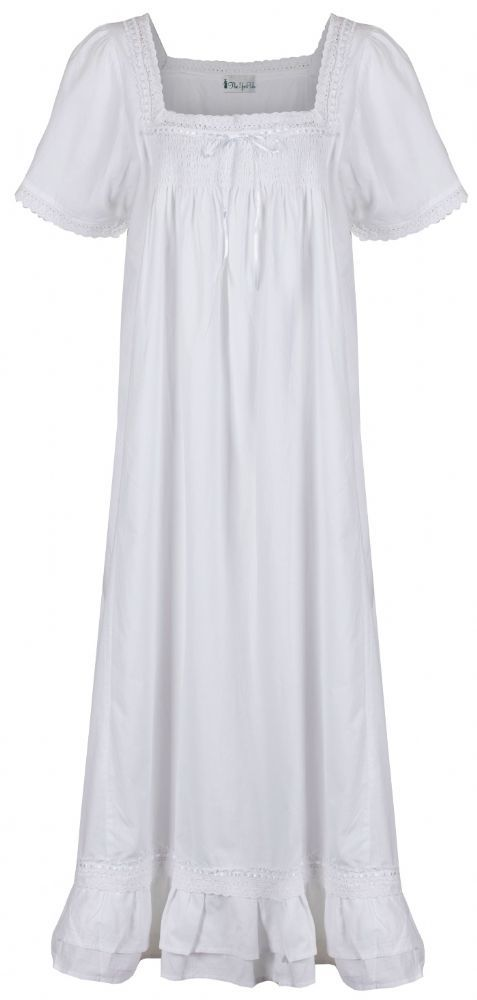 100 cotton short sleeve ladies nightdress ndash Evelyn Inspired by original Victorian designs a long nightdress with double ruffled hem Designed by