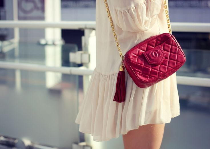 #chanel #bag #vintage #vintagechanel #red #tassel #tasselbag #gold