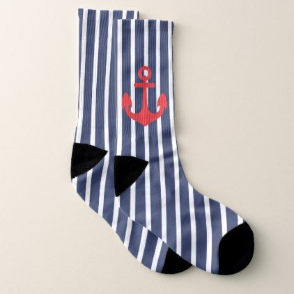 Navy Blue Striped Nautical Socks - pattern sample design template diy cyo customize