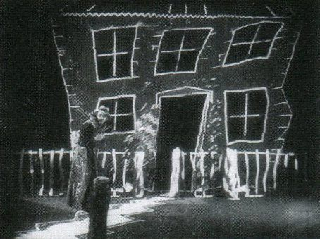 'From Morn to Midnight' 1920 German Expressionism film. Director: Karlheinz Martin/ Set design by Robert Neppach, restored and made available on DVD at Edition Filmmuseum. Thought to be a lost film but discovered in Japan in 1959.