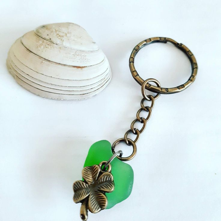 Lucky Irish charm keychain with a genuine naturally sea tumbled green seaglass piece and antique bronze shamrock clover charm - Ireland gift by MelcooDesigns on Etsy