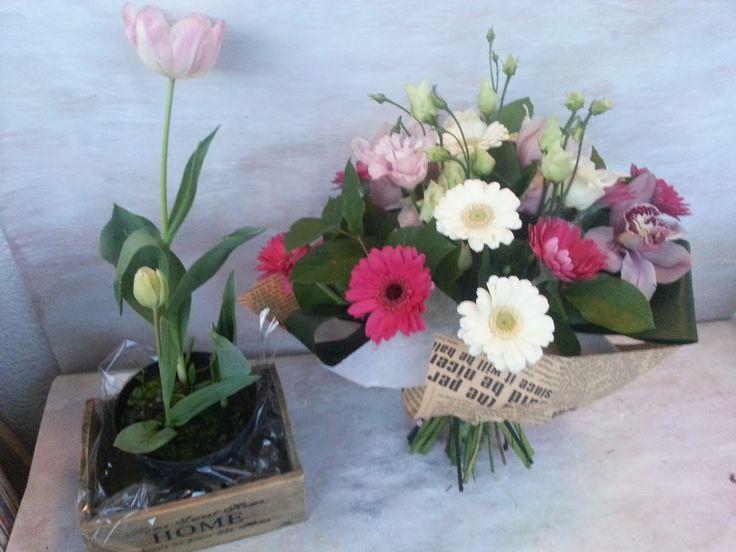 Miozotis Flowershop- big bouquet with germini, lisianthus, orchids.