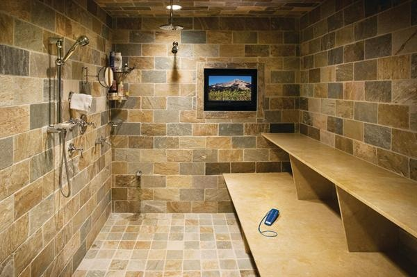 shower/sauna at your mountain home after a day in the snow