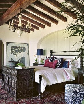 White room, dark beams, white bedding with purple morocccan pilows and large black chest........ Bedroom Design Ideas, Pictures, Remodels and Decor