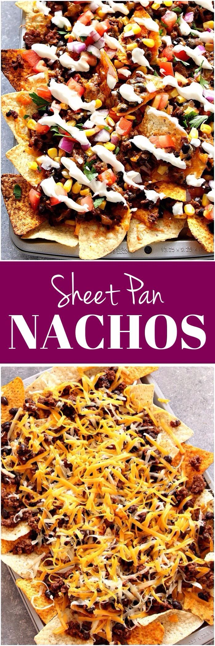 Sheet Pan Nachos Recipe - loaded nachos with all of your favorite toppings and baked in the oven. www.crunchycreamysweet.com