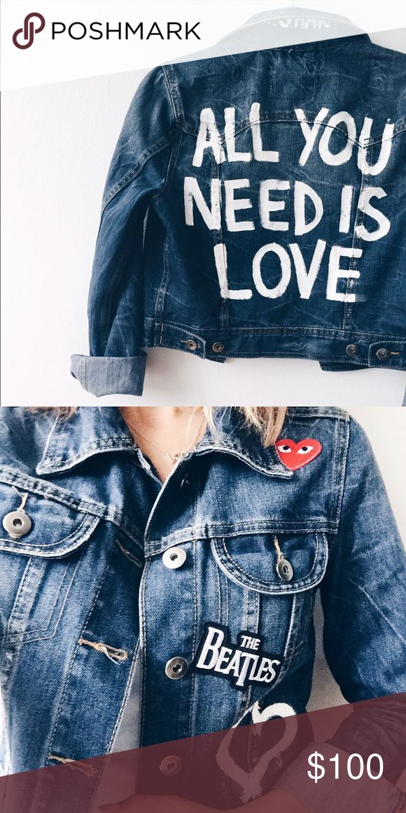 CUSTOM PAINT limited edition Beatles denim jacket Hand painted and appliquéd by me. This vintage style jacket is one of a kind, with a perfect crop and true denim color. Jacket Purchased at LF and customized after LF Jackets & Coats Jean Jackets