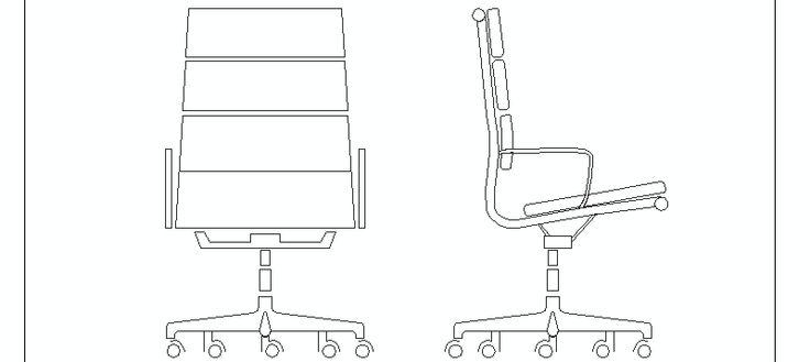 Silla de oficina soft pad en alzado bloques autocad for Muebles de oficina 3d autocad