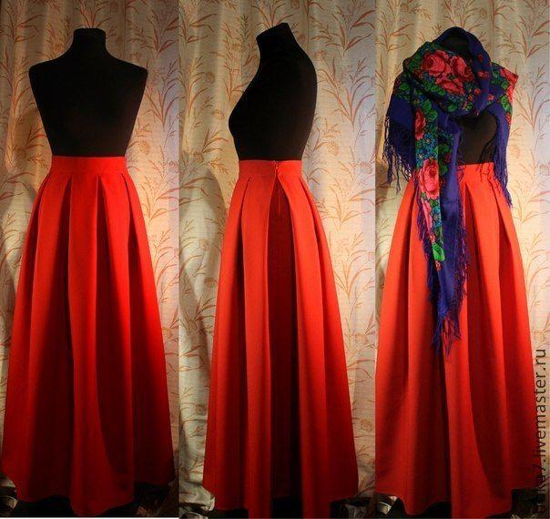 Юбка макси со складками - ярко-красный,юбка в пол,юбка макси,юбка в складку