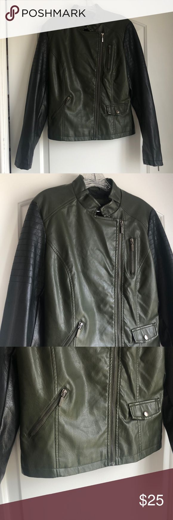 """Army green and black """"leather"""" jacket Brand is yoki Size"""