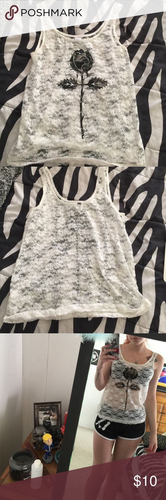 White see through tank top White see through tank top with black rose on the font and flower detailing perfect bikini coverup never worn H&M Tops Tank Tops