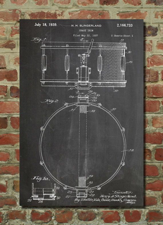 Snare Drum Patent Wall Art Poster PP147 by PatentPrints on Etsy