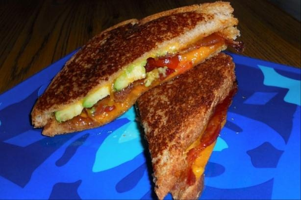 "Grown Up"" Grilled Cheese ...with bacon, avocado, and tomato. (I can ..."