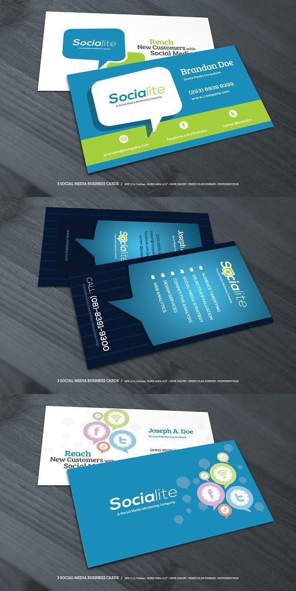 3 Social Media Business Cards Social Media Business Cards Social Media Business Business Cards