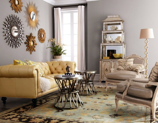 Notice mixed metallics on grey wall similar sofa colors for What color furniture goes with gray walls