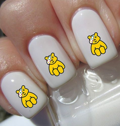 40 PUDSEY BEAR Nail Art Decals Stickers Water Transfer False/Natural nails