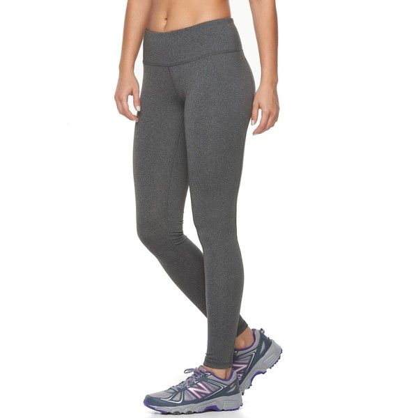 Petite Tek Gear® Shapewear Workout Leggings ($30) ❤ liked on Polyvore featuring activewear, activewear pants, dark grey, petite, petite activewear, tek gear, petite sportswear, logo sportswear and petite activewear pants