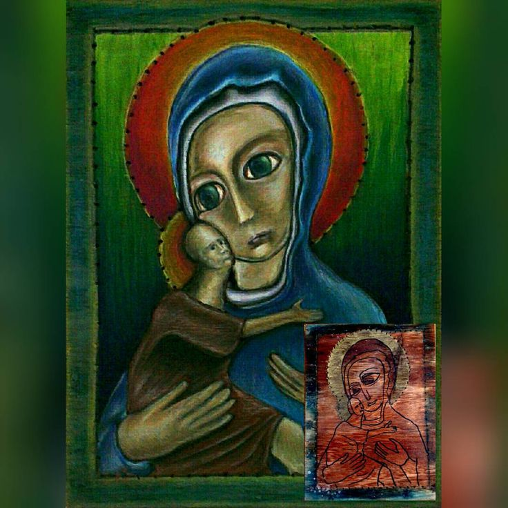 I've got presented with a wooden panel with a holy maria icon drawn on it (see bottom corner) and was asked to turn it into something nice. Turned out Maria was carrying a freaky alien baby Jesus after all. Another lie from the church revealed! :p
