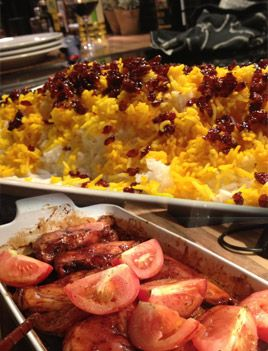 Persiskt ris med berberris & whiskyglacerad kyckling