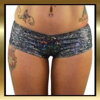 Black hologram print stretch hot pants.  Hip Hop Booty Shorts, a little bit cheeky!  Great for Pole Dancing, Burlesque and dance #sexypoleclothes #hotpants #poledancingshorts #poledancingclothes #juiceepeachwear