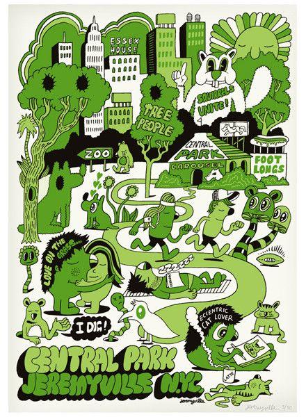 """Central Park"" by Jeremyville. Screen print. Edition of 100. $120 at http://jeremyville.com"