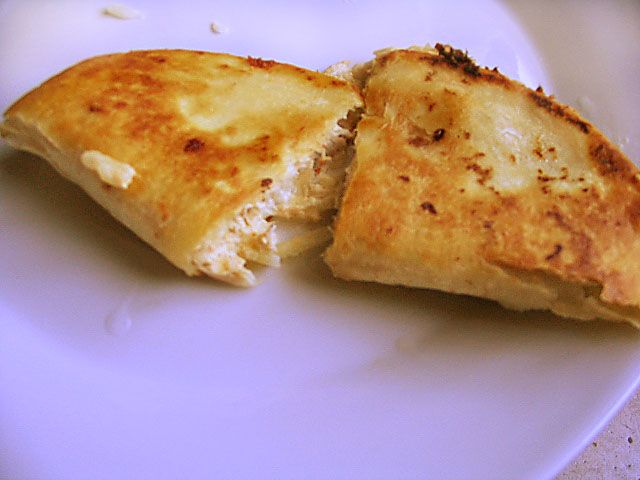 Tuna Quesadillas with cream cheese-- these were really good and we liked the change up from the usual mayo tuna salad.