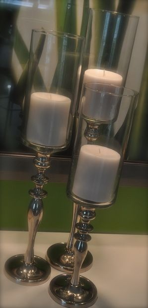 Silver candelabra and dollar store hurricane vase DIY