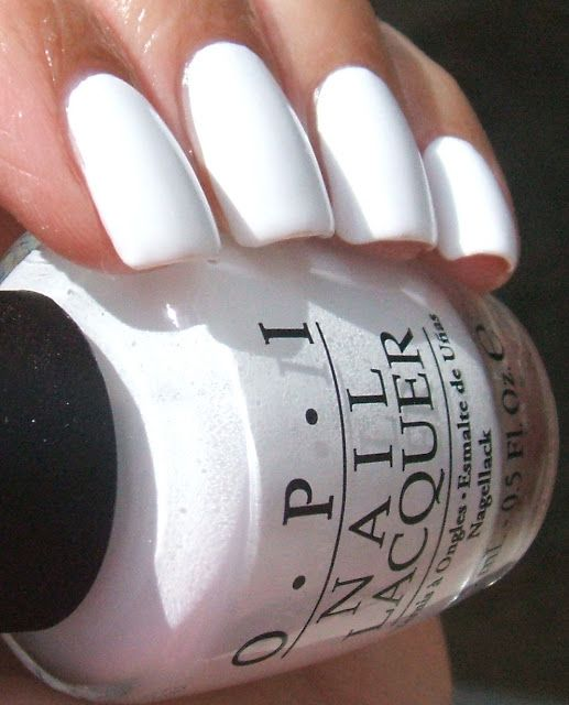 One of the best formulas for white nail polish...OPI Alpine Snow. CLICK to read her review. (a great base shade or for just crisp white nails)