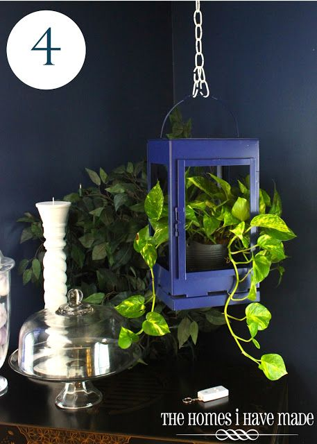 A Lantern Planter. Great idea for using an old lantern. Give it new life with a paint job, remove the glass, and add a house plant. (Ivy would be perfect) Could even bring this outdoors hanging on a deck or shepherd's hook.
