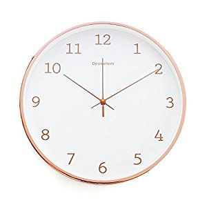 "Amazon.com: Luxury Modern 12"" Silent Non-Ticking Wall Clock with Rose Gold Frame (Feminine White): Home & Kitchen"