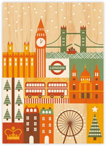 Petit Collage Holiday Card Snowy London - Paperless Post
