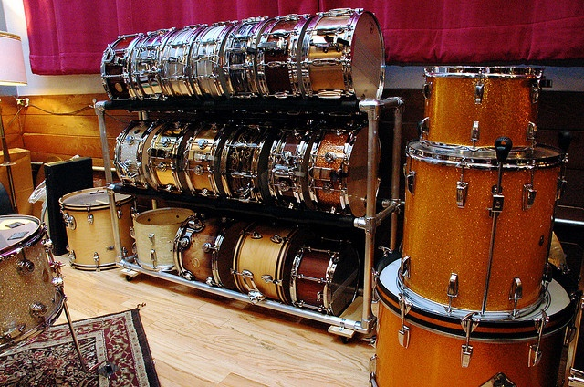 Drum rack made from slip-on pipe fittings.