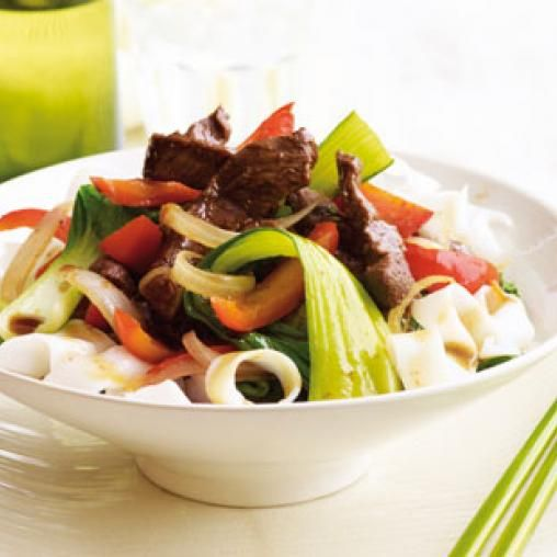 Stir-fried honey beef with Asian greens