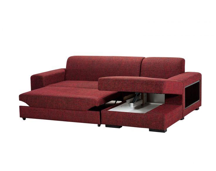 A-maze L-shape Extensible Sectional / Colour: Bordeaux #sofa #sofabed #sectional #extensible #comfort #cozy #storagespace #shelf