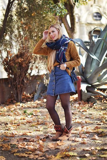 Get this look: http://lb.nu/look/7967510  More looks by Martha Lozano: http://lb.nu/marthalozano  Items in this look:  Relaxfeel Knit, Mockberg Watch, Sheinside Skirt, Maria Barcelo Booties