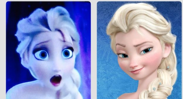 Elsa's reaction to herself without makeup......