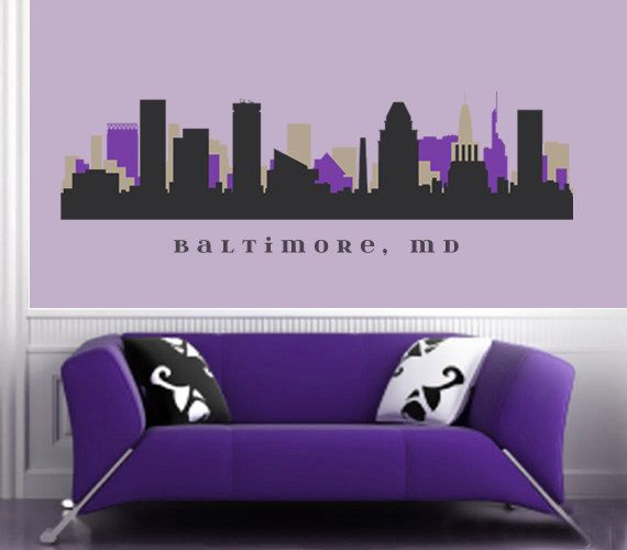 BALTIMORE MARYLAND Ravens Skyline NFL Team Colors Wall Decal Art Vinyl Repositionable Fabric Matte Sticker Living Room Office Decor City