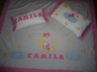 Juego de cuna sabana almohada para bebe decorado con aplicaciones en tela aplique bebe luna - Sabanas para bebes ...