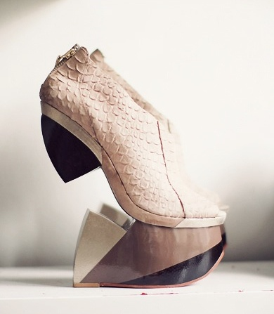 """FINSK.  No pretense at creativity at all.  """" I'm just going to glue this ugly shoe to this piece of wood and call it fashion!""""            Boom went the dynamite."""