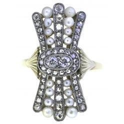 501052 Edwardian Diamond & Pearl 'Bow' Ring