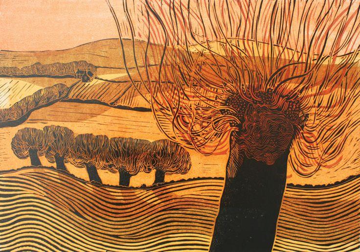 Cuckmere Valley - Robert Tavener; Linocut