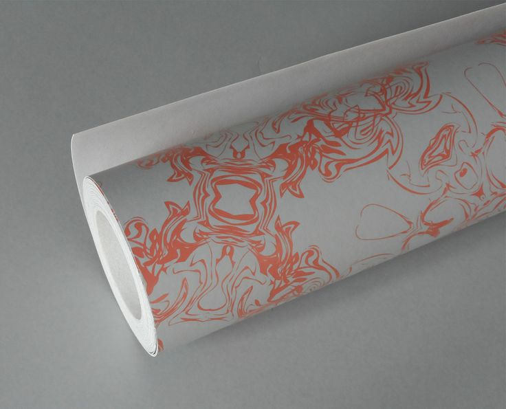 Detail - warm coral & dove grey wallpaper