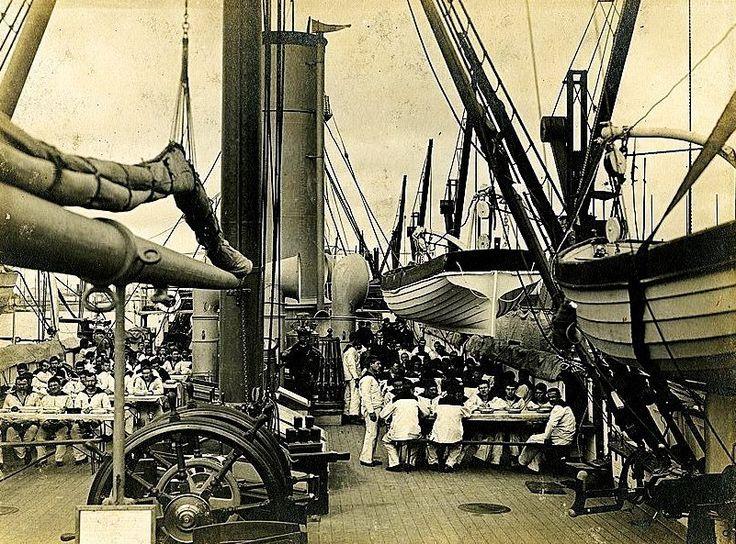 1890's Cadetes navales a bordo de la Fragata Pres. Sarmiento, 1er Buque Escuela