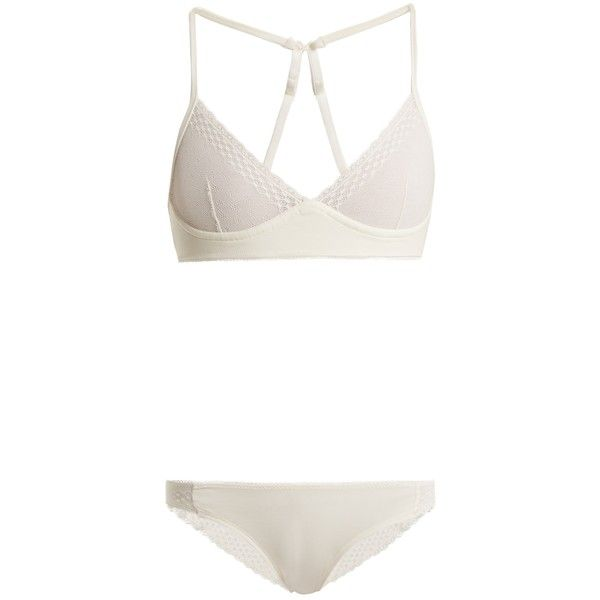 Skin Kaia lace bra and Kasia briefs set ($160) ❤ liked on Polyvore featuring intimates, bras, white, lacy bras, sheer bra, white lace lingerie, white lingerie and sheer white bra