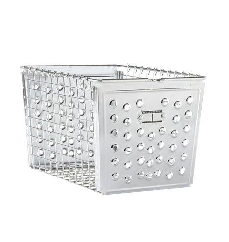 Small Industrial Sheet-Metal Basket. Show-worthy storage option.