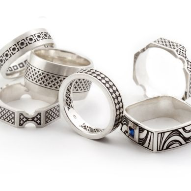 Various Decorative Men's Rings, sterling silver. Geoff Mitchell design.