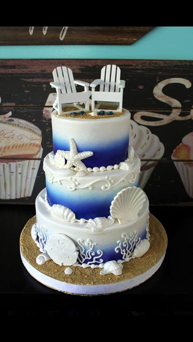 Beach themed three layered cake